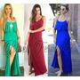 Vestido Longo Babado Com Fenda S/renda Blogueira Nova Coleçã