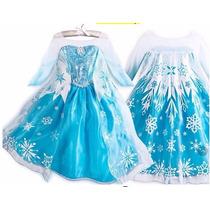 Fantasia Vestido Elsa Frozen Luxo Pronta Entrega