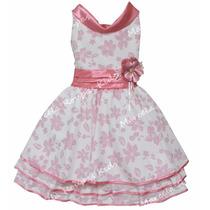 Vestido Festa Infantil Rosa Luxo 04 Ao 12 Tamanhos Com Tiara