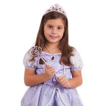 Fantasia + Coroa + Colar + Cetro Princesa Sofia Vestido Luxo