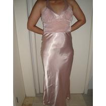 Vestido Longo De Cetim Rose Nude Com Echarpe - Sp/sp
