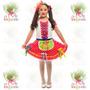 Vestido Junino Infantil Caipira ° Festa Junina ° Flor Verm-b