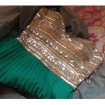 Vestido Longo Luxo Da Fruta Cor! Bordado À Mão - Verde!