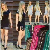Vestido Pedras Feminino Curto Manga Longa E Curta Pedraria