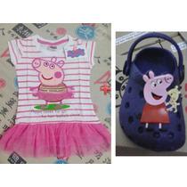 Vestido Peppa Pig Bordado Bailarina Com A Sandália Crocs