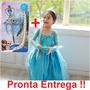 Vestido Fantasia Elsa Frozen Completa- Coroa, Cetro E Trança