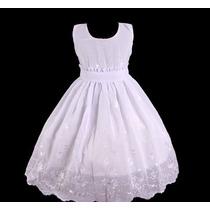 Vestido Infantil Festa/dama/florista/batizado Branco Bordado