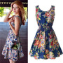 Vestido De Seda Chifon Curto Estampa Floral Pronta Entrega