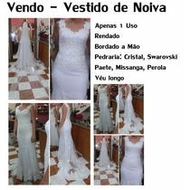 Vestido De Noiva Longo Branco Rendado Cristal Swarovski Veu