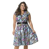 Moda Plus Size - Lindo Vestido Estampado