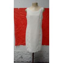 Lindo Vestido Tubinho Em Chiffon Vintage Creme M - Usado