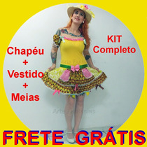Vestido Caipira Junino Adulto Com Chapéu E Meia Festa Junina