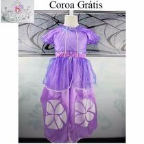 Vestido Infantil Festa Princesa Sofia Fantasia +coroa Brinde