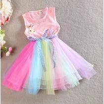 Vestido Infantil Colorido Importado Pronta Entrega