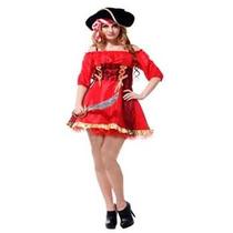 Fantasia Feminina Pirata Vermelho Preto - Tamanho Único