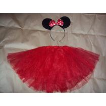 Fantasia Minnie Infantil Tiara E Saia De Tule Vermelho