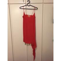 Vestido Tubinho Daslu 100% Seda Coral Cauda Lateral 38 Chic