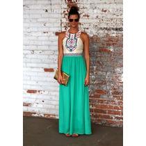 Vestido Longo Verde Festa Estampa Afro Pronta Entrega