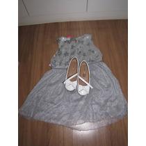 Vestido Festa Infantil Tamanho 10 Com Sapato Tatipé 32