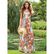 Vestido Longo Recorte Na Cintura Floral Moda Verão