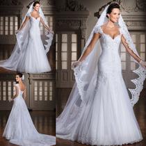 Vestido De Noiva Ótima Qualidade Sem Manga Importado 040