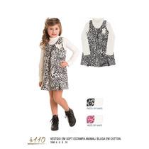 Vestido Infantil Inverno Festa Casual Oncinha Tam 4,6,8,10