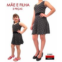 Vestido Rodado Acinturado De Bolinhas Anos 60-70 Mãe E Filha