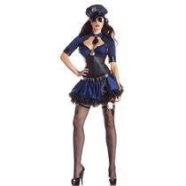 Fantasia Policial Sensual Azul Bolero Importada M ( 38 A 40)