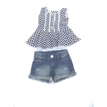 Conjunto Shorts Jeans E Blusa Xadrez 2538 - Douvelin