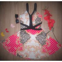 Vestido Rodado Princesa Neoprene 3d Estampa Oriental C/ Bojo