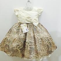 Vestido Fantasia Infantil Festa Onça Marrom Luxo Com Tiara