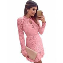 Vestido De Renda Rosa Manga Comprida/longa 2016 Frete Grátis