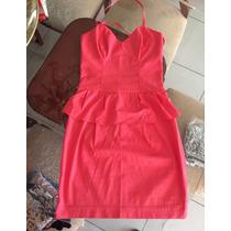 Vestido Peplum Rosa. Lindo. Costas Nuas. Etiqueta Da Loja.