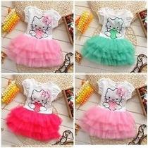 Vestido Infantil Criança Hello Kitty Pronta Entrega