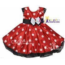 Vestido Fantasia Festa Minnie Vermelho Com Tiara De Cabelo
