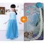 Fantasia Rainha Elsa Vestido Longo Congelado + Acessórios