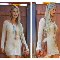 Vestido Longo Crochê Tricot Branco Saída De Praia Reveillon