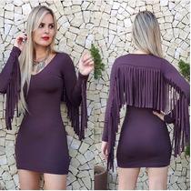 Vestido Suede Com Franjas Moda Blogueiras