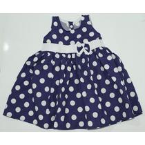 Vestido Infantil Azul Bolinhas Detalhe Em Laço 3 A 4 Anos
