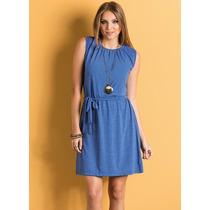Vestido Com Faixa Para Amarrar Na Cintura Azul