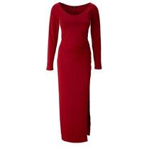 Vestido Vermelho Lindo Novo De Malha Com Fenda, Forro