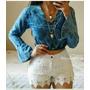 Conjunto Divino Crooped Jeans Com Short De Begaline E Guipir