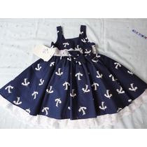 Vestido Infantil Festa Marinheira Azul Laço 1 Ano