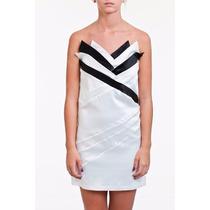 Vestido Tomara Que Caia Curto De Cetim Branco