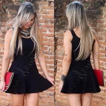 Vestido Curto Panicat Rodado S/renda Roupas Festa Blogueira