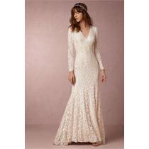 Boho Luxo: Vestido Noiva Sereia Em Renda Nobre Manga Longa