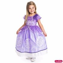 Fantasia Vestido Princesa Sofia Com Amuleto Pronta Entrega