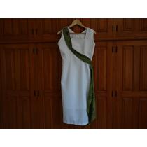 Vestido Social Feminino Longo Branco Com Enfeite Verde