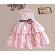 Vestido Festa Infantil Poá Branco E Rosa, Aniversário Lindo!
