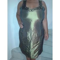 Vestido De Gala Setim Ouro Envelhecido Tamanho 48-50